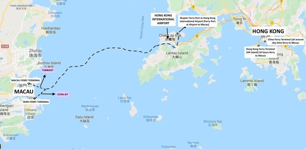 Hong Kong to Macau Ferry Route