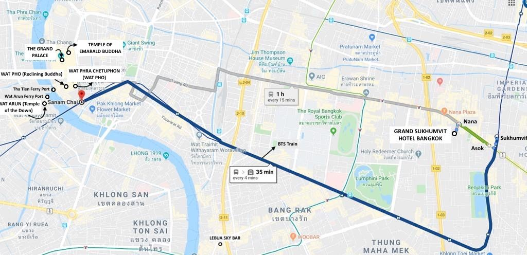 Temples in Bangkok Map