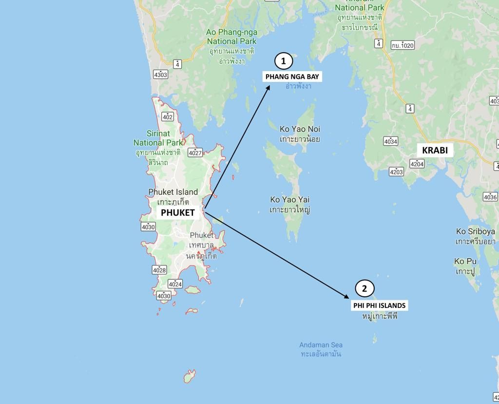 Island Tours from Phuket Map