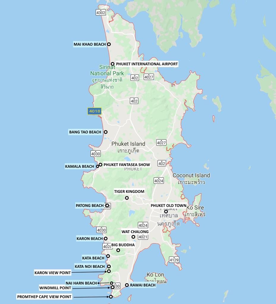 Places to visit in Phuket Map