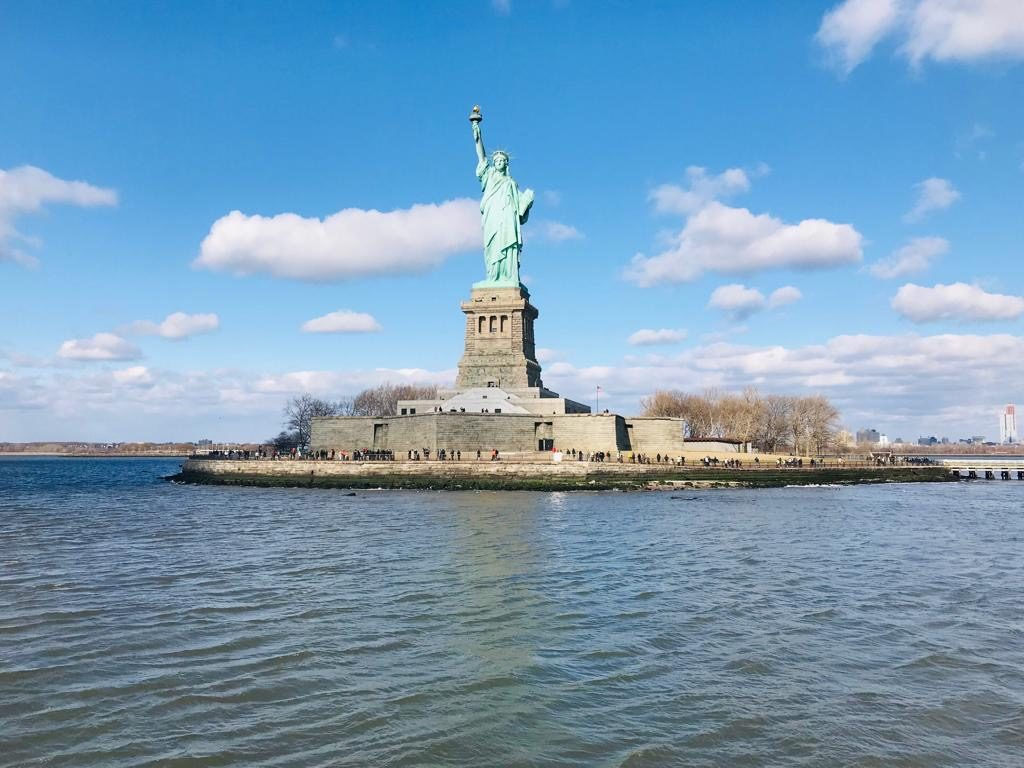 The view of Statue of Liberty from Circle Line Cruise
