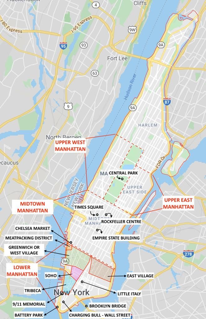 Main Areas in Manhattan Map
