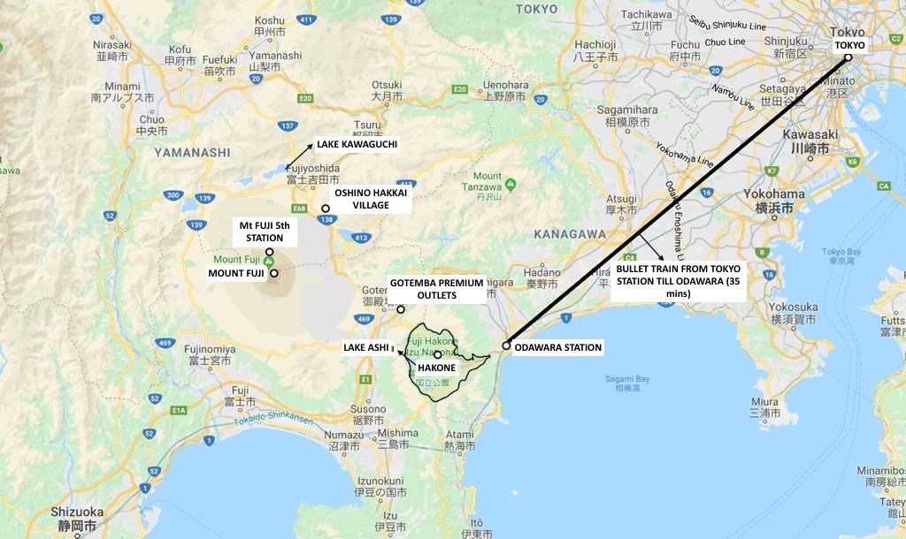Mount Fuji Map, Japan