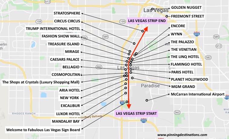Las Vegas Attraction Map