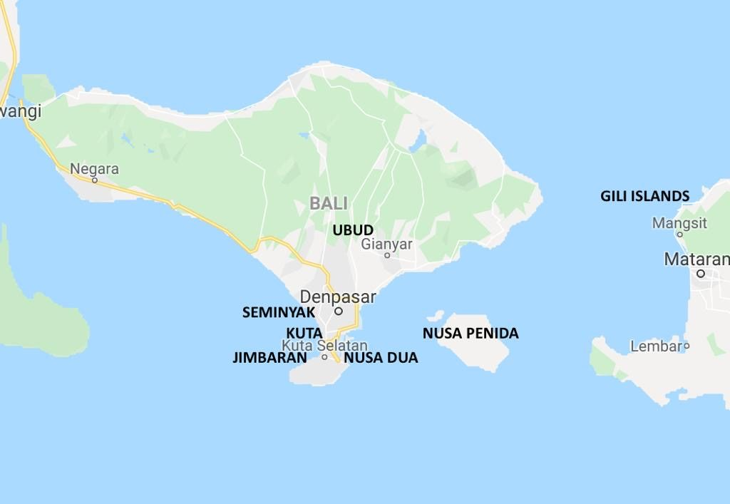 Places to stay in Bali - Map
