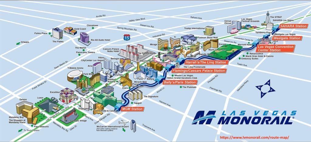 Las Vegas Monorail Map, Las Vegas 3 Day Trip