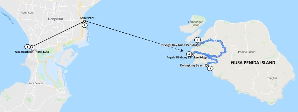 Nusa Penida Day Trip from Bali Map