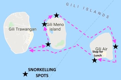 Snorkelling Trip Boat Route - Gili Islands