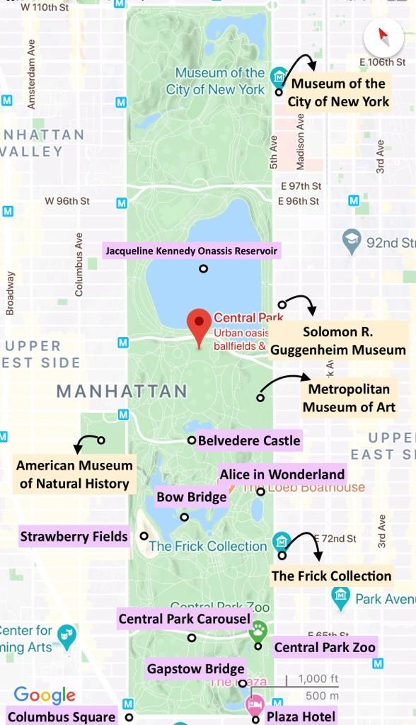 Central Park - Attractions Map